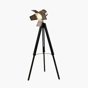 HEREFORD BLACK WOOD AND ANTIQUE BRASS FLOOR LAMP