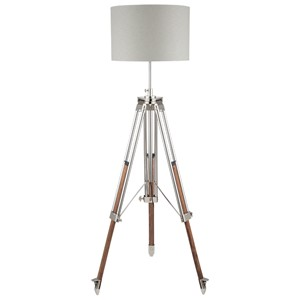 PORT NICKEL WOOD TRIPOD FLOOR LAMP
