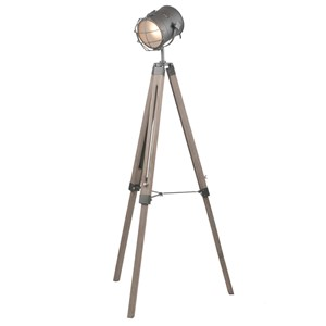 BULLSEYE METAL AND ANTIQUE WOOD FLOOR LAMP