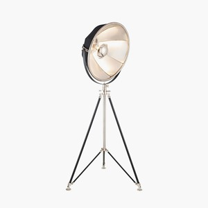 LARGE BLACK FABRIC AND SILVER METAL FLOOR LAMP