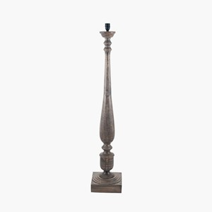 GREY WASHED TURNED MANGO WOOD FLOOR LAMP