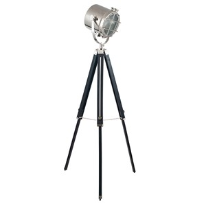 BLACK AND SILVER TRIPOD MARINE FLOOR LAMP