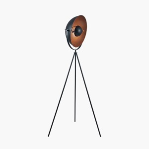 BLACK AND COPPER DIFFUSED TRIPOD FLOR LAMP