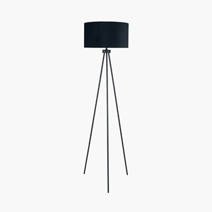 MATT BLACK TRIPOD FLOOR LAMP INK. SHADE