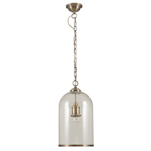 CLEAR GLASS AND ANTIQUE BRASS RIMMED PENDANT
