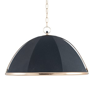 LARGE BLACK FABRIC AND GOLD METAL PENDANT