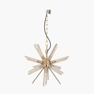 CLEAR GLASS AND GOLD METAL STARBURST PENDANT
