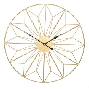 ANTIQUE GOLD METAL 76 CM GEO DESIGN CLOCK