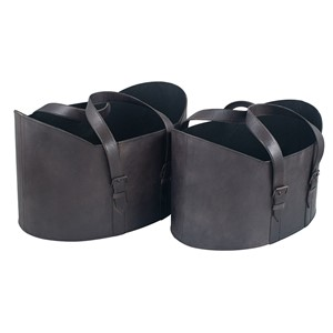 STEEL GREY LEATHER S/2 HANDLED STORAGE