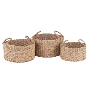 LOMBOK S/3 WOVEN NATURAL SEAGRASS ROUND HANDLED BASKETS