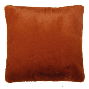 LYALL FUR PILLOW LEATHER RUST 50X50 CM