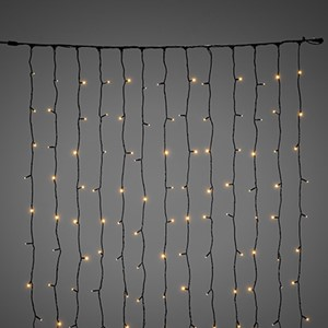 Gardinslynge 1,1 m x 2,0 m amber LED sort kabel