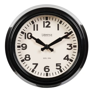 WALL CLOCK SHINY BLACK S