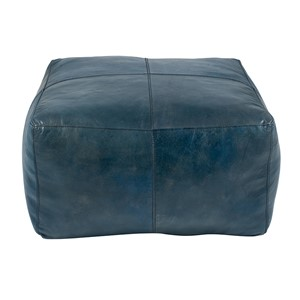 MATTEO PRUSSIAN BLUE LEATHER SQUARE POUFFE