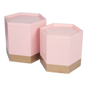 PINK & GOLD STORAGE BOXES S/2