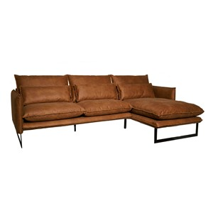 MILAN LOUNGE SOFA RIGHT MERSEY COGNAC