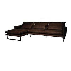 MILAN LOUNGE SOFA LEFT MERSEY DARK BROWN