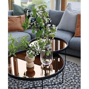 BLACK & COPPER WOOD & IRON ROUND COFFEE TABLE