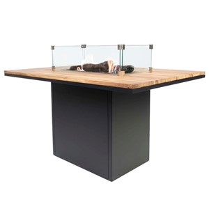 COSILOFT 120 DINING TABLE BLACK FRAME/TEAK TOP