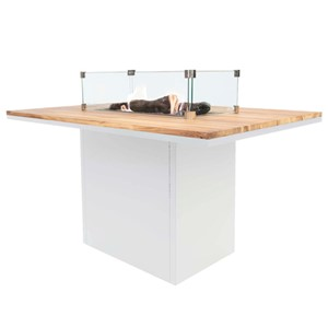 COSILOFT 120 DINING TABLE WHITE FRAME/TEAK TOP