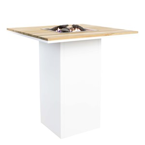 COSILOFT 100 BAR TABLE WHITE FRAME/TEAK TOP